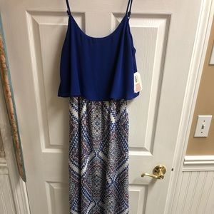Blue Pattern Maxi Dress